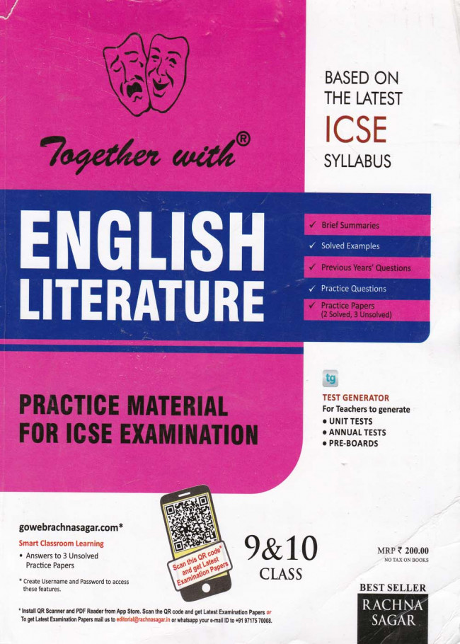 Together With ICSE English Literature Practice Material Class IX- X